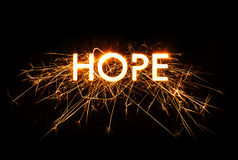 HOPE title word in glowing sparkler Royalty Free Stock Photography