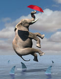 Business Risk, Goals, Sales, Marketing. Abstract concept for hope and dreams. An elephant flies through the air using a red umbrella. Below are shark infested Royalty Free Stock Image