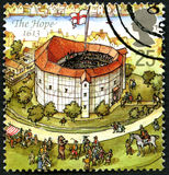 The Hope UK Postage Stamp. GREAT BRITAIN - CIRCA 1995: A used postage stamp from the UK, depicting an illustration of The Hope theatre in London in 1613, circa Stock Image