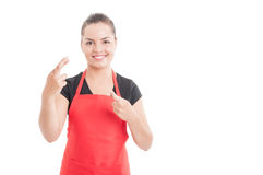 Hope and wish concept with supermarket employee Royalty Free Stock Photos