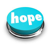 Hope Word Button Faith Spirituality Religion. A blue round button with the word Hope to illustrate hoping for a better life or outcome, spirituality, religion or Royalty Free Stock Photography