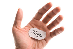 Hope word in hand Royalty Free Stock Photography