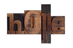 Hope, word written in letterpress type blocks Stock Photography