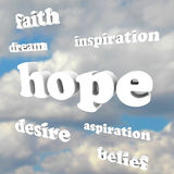 Hope Words in Sky Faith Belief Inspire Aspirations. Several words in the sky representing hope, faith, belief, aspiration, inspiration, dreams and other feelings stock illustration