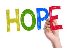 Hope written on the wipe board Stock Photography