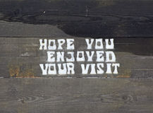 Hope You Enjoyed Your Visit Wooden Sign Stock Photography