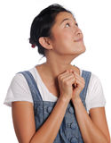 Hopeful. Girl prays for love with all her might Stock Images