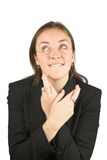 Hopeful business woman - fingers crossed Royalty Free Stock Photography