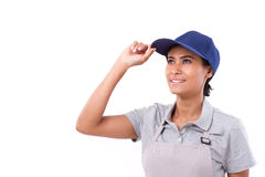 Hopeful, confident woman worker looking up Royalty Free Stock Image