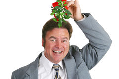 Hopeful Guy Under Mistletoe Royalty Free Stock Photo