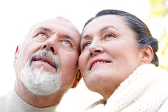 Hopeful older couple stock photo
