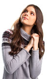 Hopeful woman with folded hands. Royalty Free Stock Photography