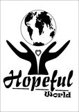 Hopeful World. T-shirt Logo for better world project, created in Coreldraw10 Royalty Free Stock Image