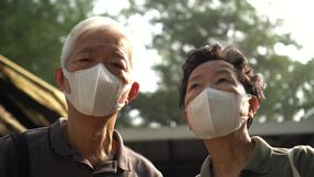 Hopeless Asian Chinese couple aware of 2019 ncv outbreak and smog situation wear preventing mask