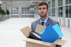 Hopeless businessman getting fired isolated Stock Images
