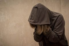Hopeless drug addict going through addiction crisis, portrait of young person with substance dependence. Abuse depression heroin medicine narcotic problem stock images
