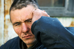 Sad homeless man in depression Royalty Free Stock Photo