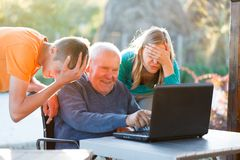 Hopeless grandfather Stock Image