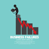 Hopeless Man With Business Failures Concept. Vector Illustration Royalty Free Stock Images
