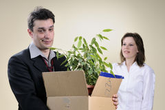 Hopeless man and manager smiling in background Royalty Free Stock Photos