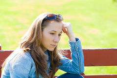Hopeless. Young girl feeling unhappy because the loss Stock Photo