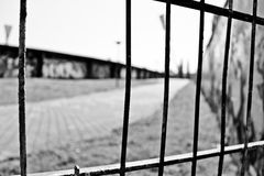 Hopelessness. Fence surrounding old Eastgerman stadium Stock Image