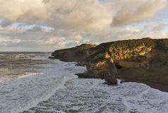 Hopeman, Cove Bay line of waves Royalty Free Stock Image