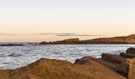 Hopeman's Daisy Rock Sundown. Royalty Free Stock Photo