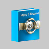 Hopes and dreams book vault. Secrets and protection: hopes and dreams book vault isolated on grey royalty free illustration
