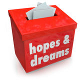 Hopes Dreams Box Collecting Desires Wants Yearning Ambitions. Hopes and Dreams words on a red box collecting your desires, wants, aspirations, yearnings and Royalty Free Stock Images