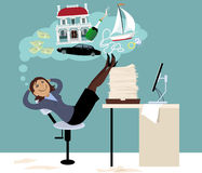 Hopes and dreams. Woman sitting in an office putting her feet on a pile of papers and daydreaming about expensive things and money, EPS 8 vector illustration Stock Image