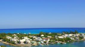 Hopetown Harbor and Atlantic Ocean Aerial View Stock Photo