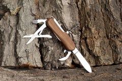 Hopfällbar kniv som kan användas till mycket Fotografering för Bildbyråer