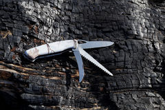 Hopfällbar kniv som kan användas till mycket med olika kanter Royaltyfri Bild