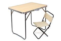 Hopfällbar tabell och stol Royaltyfri Foto