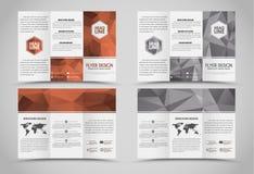 Hopfällbara broschyrer för design med polygonal beståndsdelar Royaltyfri Foto