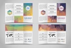 Hopfällbara broschyrer för design med polygonal beståndsdelar Arkivbilder