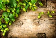 Hopfenzweig über altem Holztischhintergrund Lizenzfreies Stockbild