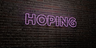 HOPING -Realistic Neon Sign on Brick Wall background - 3D rendered royalty free stock image. Can be used for online banner ads and direct mailers Royalty Free Stock Image