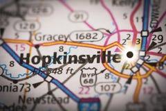 Hopkinsville, Kentucky sulla mappa Fotografia Stock Libera da Diritti