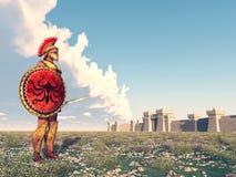 Hoplite de la Grèce antique chez Troie Photo stock