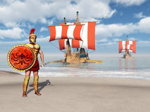 Hoplite and galleys of ancient Greece Royalty Free Stock Images