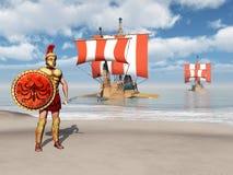Hoplite und Galeeren von altem Griechenland Lizenzfreie Stockbilder