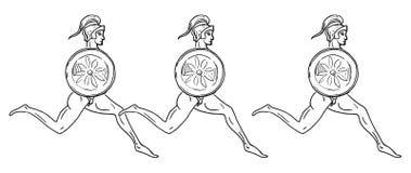 Hoplitodromia också vektor för coreldrawillustration Royaltyfri Bild