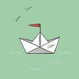 Hopp för origamipappersskepp på illustration för havsvågvektor Royaltyfri Foto