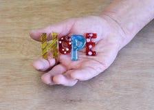 Hopp för stavning för stycke för hållande konst för hand glass Arkivfoto