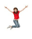Hoppa den tonårs- flickan Arkivbilder