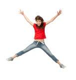 Hoppa den tonårs- flickan Royaltyfria Foton