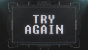 Hoppa det färgrika retro videogameförsöket smsar igen på sömlös ögla för futuristisk tvskärmanimering Ny kvalitets- universal lager videofilmer