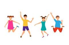 Hoppa för unga flickor och för pojkar för lycklig tecknad film gladlynt Isolerade barn Arkivbild